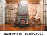 interior with fireplace ...   Shutterstock . vector #1035926032