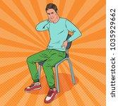 pop art man suffering from back ... | Shutterstock .eps vector #1035929662