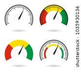 speedometer icon set. gauge and ... | Shutterstock .eps vector #1035930136