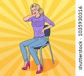 pop art pretty woman suffering... | Shutterstock .eps vector #1035930316