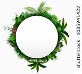 tropical leaves background.... | Shutterstock .eps vector #1035941422