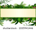 tropical leaves background.... | Shutterstock .eps vector #1035941446