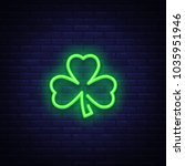 shamrock is a neon sign. neon... | Shutterstock .eps vector #1035951946