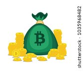 golden bitcoins and new virtual ... | Shutterstock .eps vector #1035968482