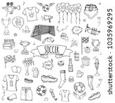 hand drawn doodle soccer set... | Shutterstock .eps vector #1035969295