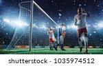 soccer game moment  on...   Shutterstock . vector #1035974512