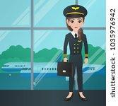 male pilot holding bag   Shutterstock .eps vector #1035976942
