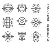 sacred geometry elements and... | Shutterstock . vector #1035977038