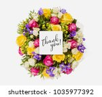 fresh flowers bunch and card... | Shutterstock . vector #1035977392