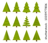 christmas trees set | Shutterstock . vector #1035977806