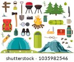 hiking camping equipment vector ... | Shutterstock .eps vector #1035982546
