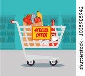 supermarket groceries in... | Shutterstock .eps vector #1035985942