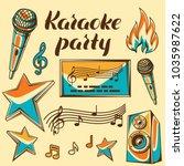 karaoke party items. music... | Shutterstock .eps vector #1035987622