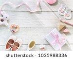baby shower flat lay | Shutterstock . vector #1035988336