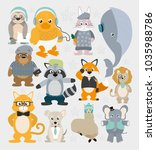cute animals pattern background | Shutterstock .eps vector #1035988786