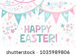 happy easter  greeting card.... | Shutterstock .eps vector #1035989806
