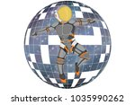 astronaut on the background of... | Shutterstock . vector #1035990262