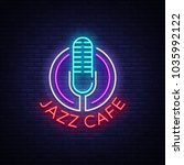 jazz cafe is a neon sign.... | Shutterstock . vector #1035992122