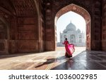 woman in red saree sari in the... | Shutterstock . vector #1036002985