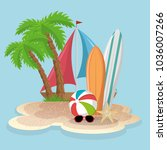 summer vacattions set icons | Shutterstock .eps vector #1036007266