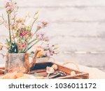 beautiful flowers in old... | Shutterstock . vector #1036011172