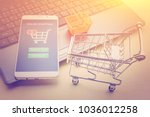 online shopping   ecommerce and ... | Shutterstock . vector #1036012258
