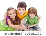 Childhood friends - kids hugging and giving thumbs up sign - stock photo