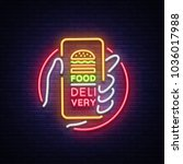 food delivery neon sign.... | Shutterstock . vector #1036017988