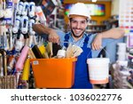 adult workman boasting shopping ... | Shutterstock . vector #1036022776
