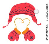 mittens and hat illustration.... | Shutterstock . vector #1036028086