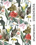 jungle pattern with birds and...   Shutterstock .eps vector #1036043656