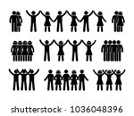 stick figure group people icon. ... | Shutterstock . vector #1036048396