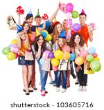 group people with balloon on... | Shutterstock . vector #103605716