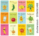 set of cartoon cards with... | Shutterstock .eps vector #1036061488
