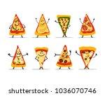 pizza slices character set ...   Shutterstock .eps vector #1036070746