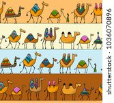 camels caravan  seamless...   Shutterstock .eps vector #1036070896