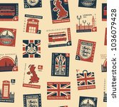 retro postage seamless... | Shutterstock .eps vector #1036079428