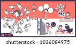 2tone type short hair boy_set 12 | Shutterstock .eps vector #1036084975
