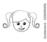 little girl avatar character | Shutterstock .eps vector #1036090696