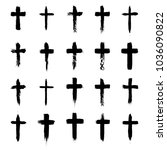 grunge cross symbols set ... | Shutterstock .eps vector #1036090822
