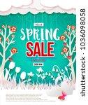 spring sale print poster design.... | Shutterstock .eps vector #1036098058