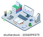 flat isometric illustration of... | Shutterstock .eps vector #1036099375