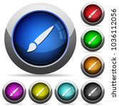 brush icons in round glossy... | Shutterstock .eps vector #1036112056