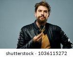 man  glasses  black jacket      ...   Shutterstock . vector #1036115272
