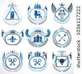 set of old style heraldry... | Shutterstock .eps vector #1036117222