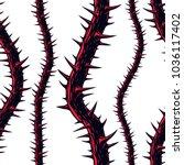 horror art style seamless... | Shutterstock .eps vector #1036117402