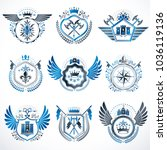 heraldic decorative emblems... | Shutterstock .eps vector #1036119136