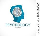 psychology concept vector logo... | Shutterstock .eps vector #1036120648