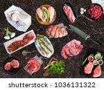 different types of raw meat ... | Shutterstock . vector #1036131322