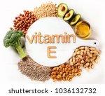vitamin e rich food. top view....   Shutterstock . vector #1036132732